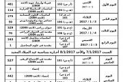 جدول امتحانات الفصل الدراسى الاول دور يناير 2017